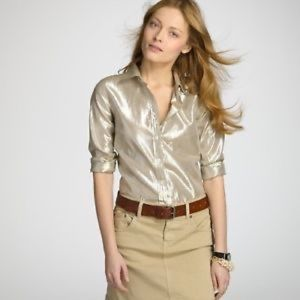 J Crew The Perfect Shirt Metallic Gold Button Down
